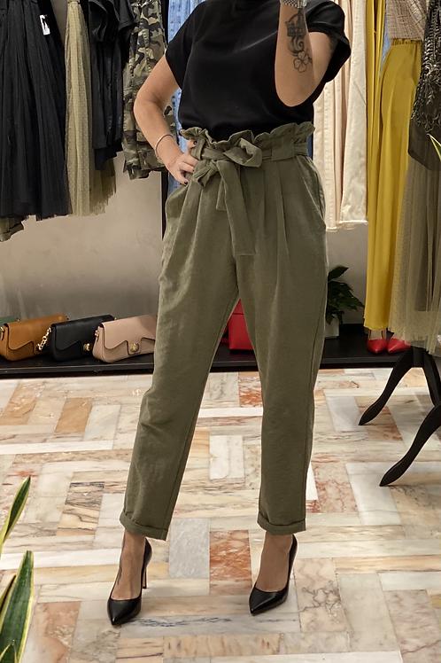 Pantalone Verde Militare  vita arricciata cod. MD8066
