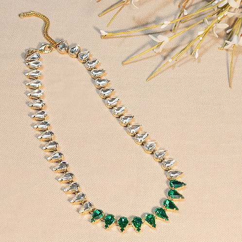 Collana con gocce di cristalli Verde Smeraldo e Crystal