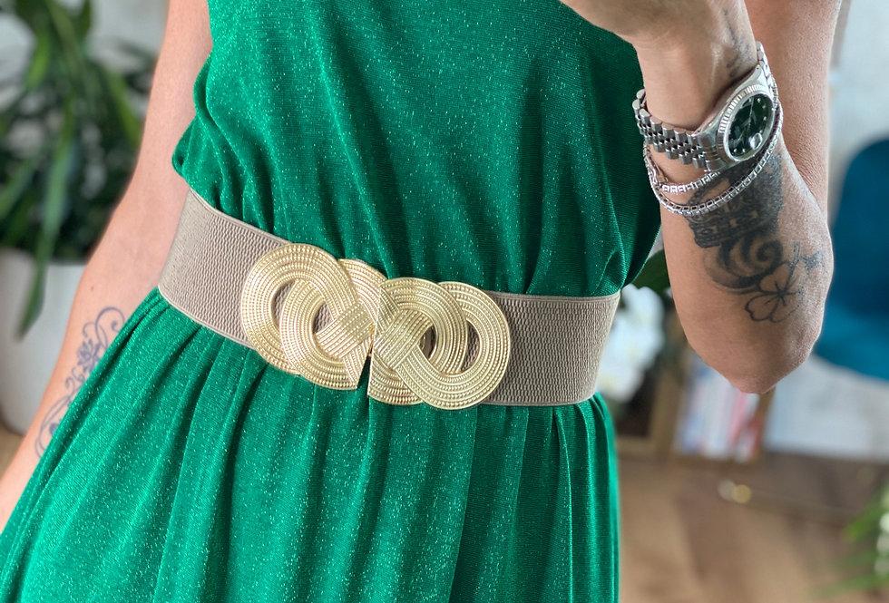 Cintura M9 - Tortora con medaglione Oro intrecciato
