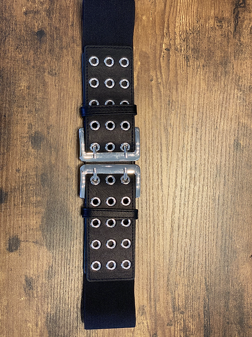 Cintura Nera e Fibbia Argento con Anelli Elasticizzata