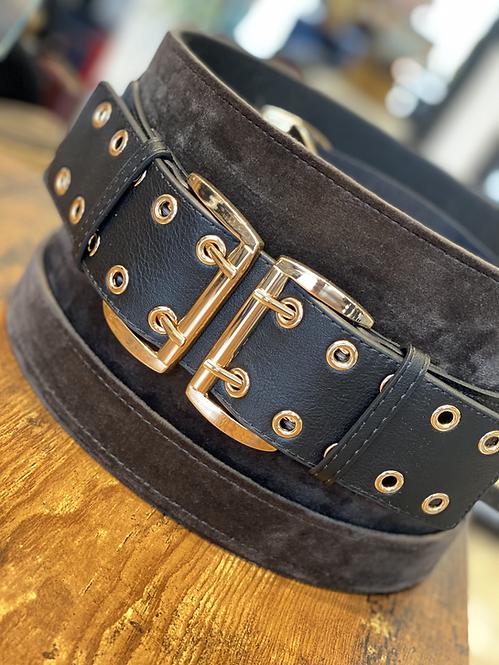 Cintura Nera e Fibbia Oro con Anelli Elasticizzata