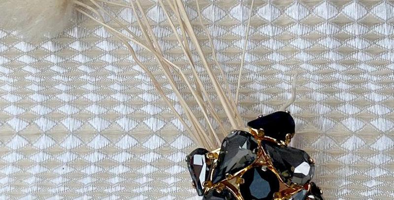 Anello con lavorazione di cristalli Black diamond