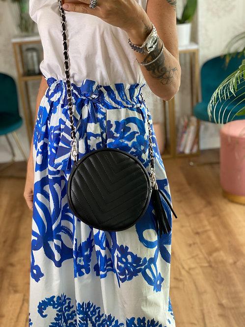Round Bag colore Nero in Pelle con tracolla