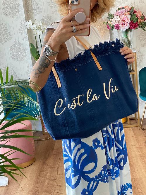 "Borsa ""C'est la vie"" Blu  con manici in Pelle"