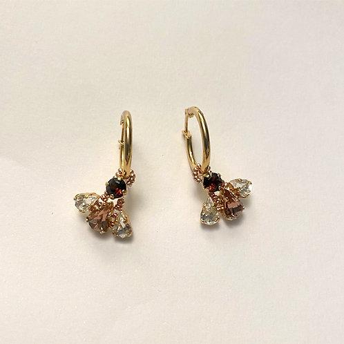Orecchini Gold con pendente Burgundy e Crystal