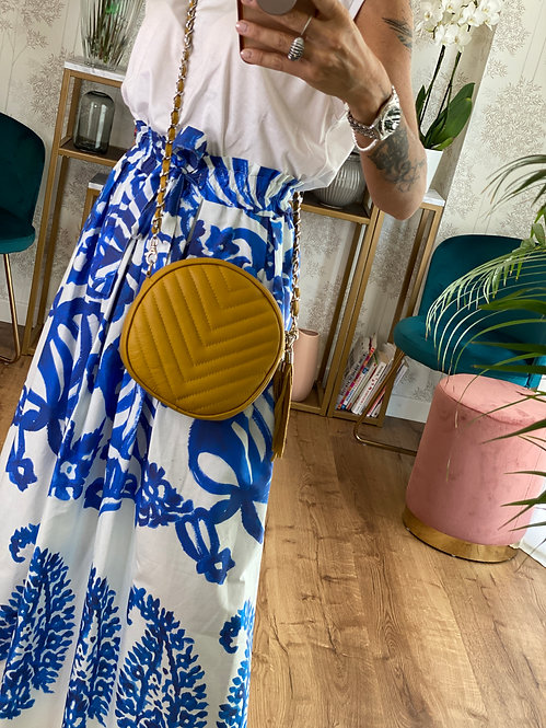 Round Bag color Senape in Pelle con tracolla