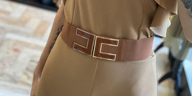 Cintura Tabacco  Elasticizzata Con Fibbia Tabacco e Oro Liscia