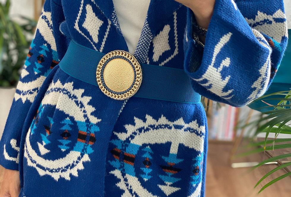 Cintura CMM ROYAL BLU   con medaglione a catena  e perline