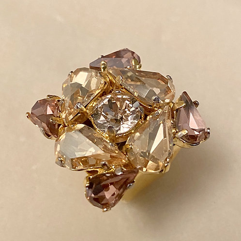 Anello con lavorazione di cristalli Burgundy e Crystal