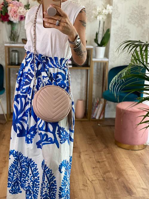 Round Bag color Cipria in Pelle con tracolla