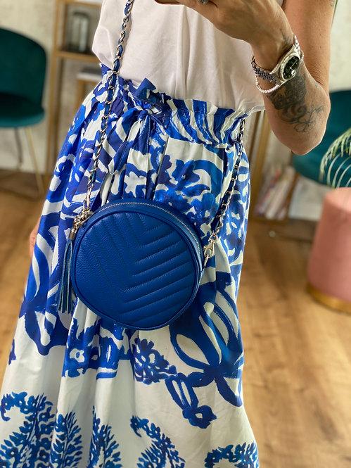Round Bag color Royal Blu in Pelle con tracolla