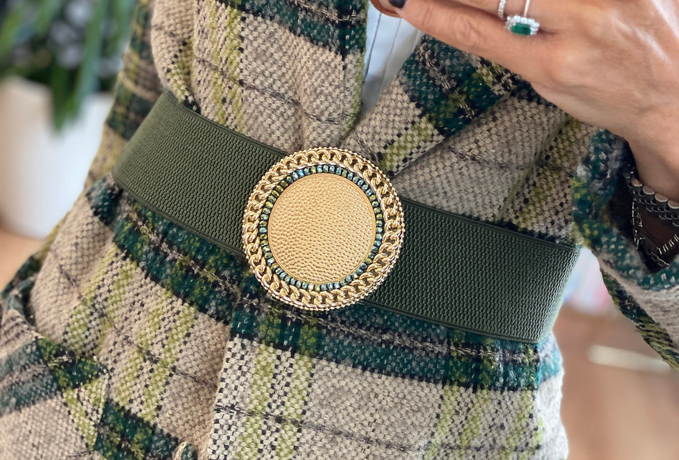 Cintura CMM VERDE  con medaglione a catena  e perline