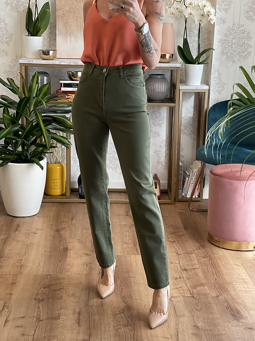 Pantalone Verde Militare cinque tasche cod.KKT03