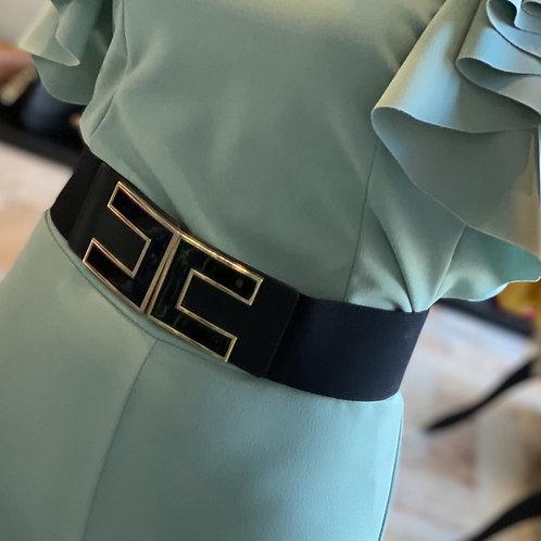 Cintura Nera Elasticizzata Con Fibbia Nera e  e Oro Liscia