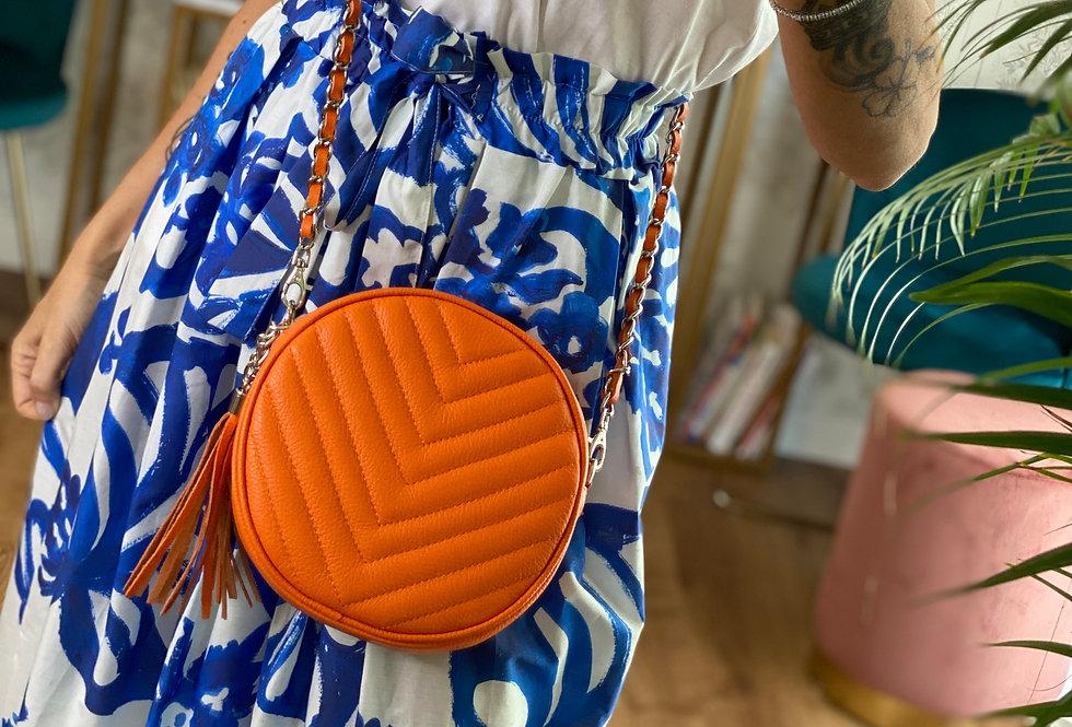 Round Bag color Arancione in Pelle con tracolla