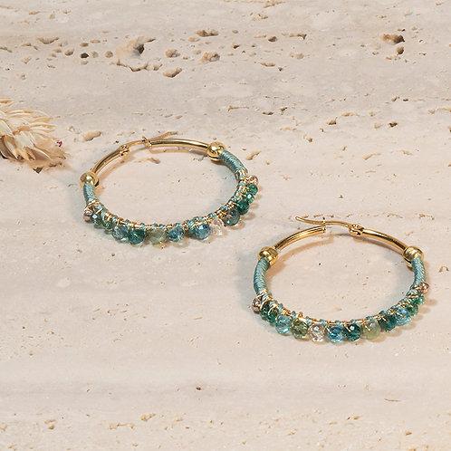 Orecchini a cerchio con cristalli color Turchese