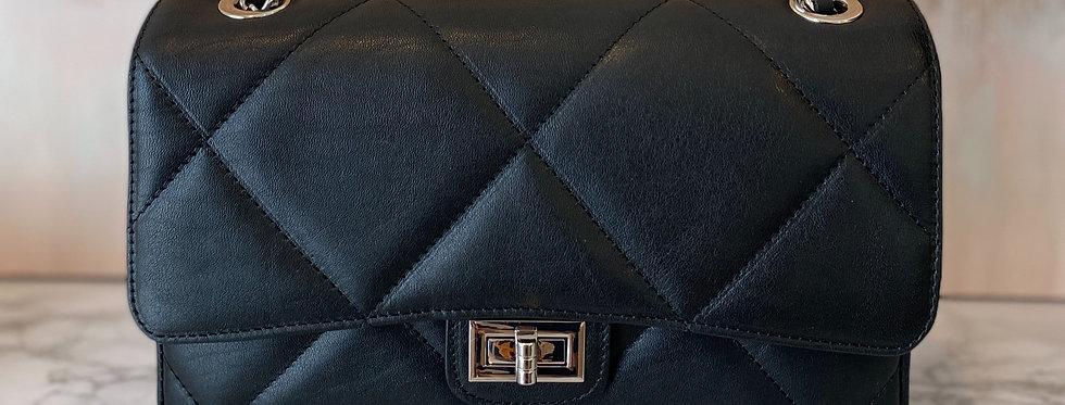Borsa Nera Chanel Style Matelassé  in Pelle MISURA MEDIA