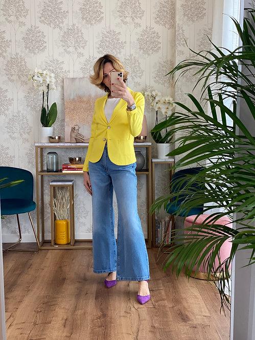 Jeans 5 tasche a palazzo a vita alta lavaggio chiaro cod. X516