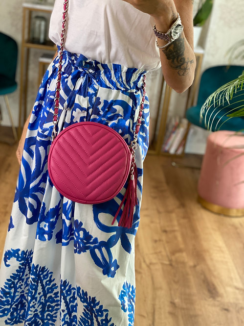 Round Bag color Fucsia in Pelle con tracolla