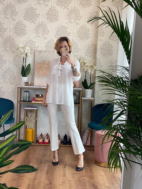 Pantalone Bianco Latte a trombetta cod.KKG1