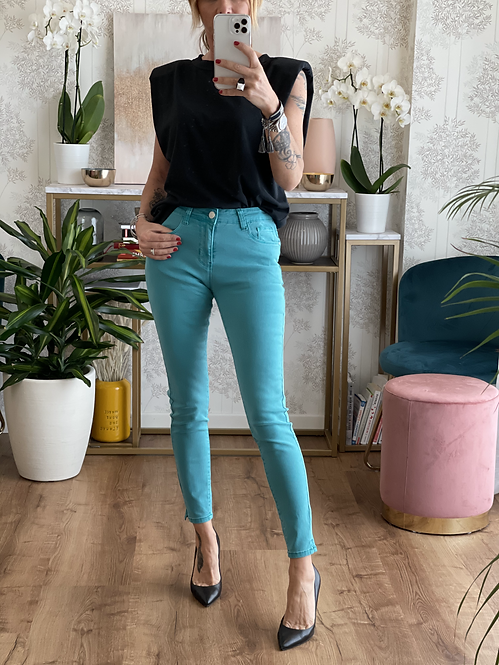 Jeans Super Skinny VERDE OCEANO  effetto Push Up