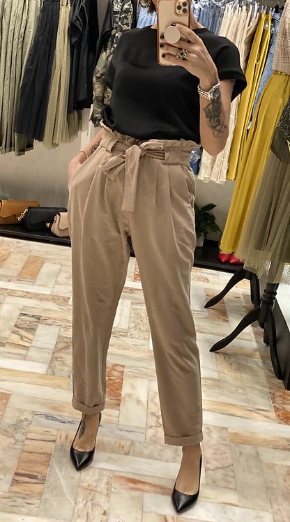 Pantalone Sabbia  vita arricciata cod. MD8066