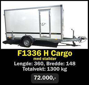 Tilhenger. Norgeshengern F1336 Cargo med stalldør