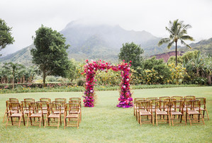 Waioli Mission House Views with an Ombre Bougainvillia Arch