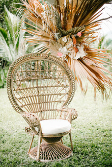 Gold Peacock Chair with Floral Back Drop