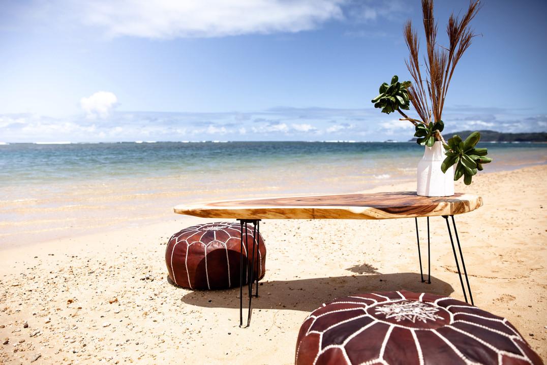 Kauai Monkey Pod Coffee Table on Hair Pin Legs
