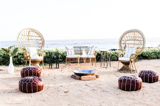 Gold Peacock Chairs with an Ocean View