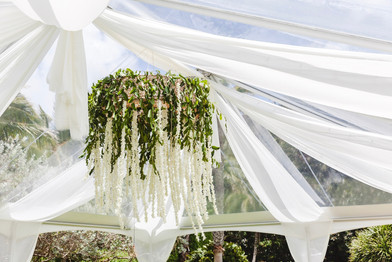 Wicker Round Floral Chandelier with Cascading Orchid garlands