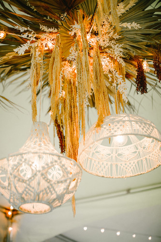 Macrame Pentants with dried fan palms, hanging preserved amaranthus and bleached italian ruscus