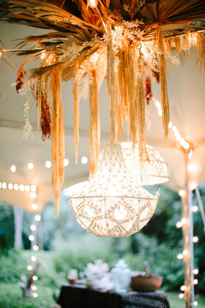 macrame pendants with dried floral statement