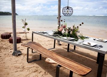 Concrete Table and Monkey Pod Benches on Iron Legs