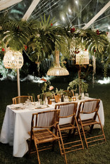 Wicker Pendants with Greenery Adorned Trussing