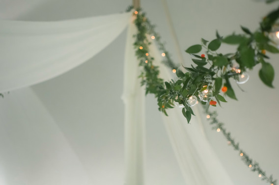 greenery adorned cafe & partial fabric draping