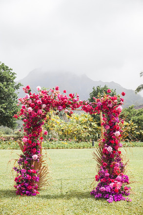Ombré Bougainvillia Arch with Peonies, roses, etc