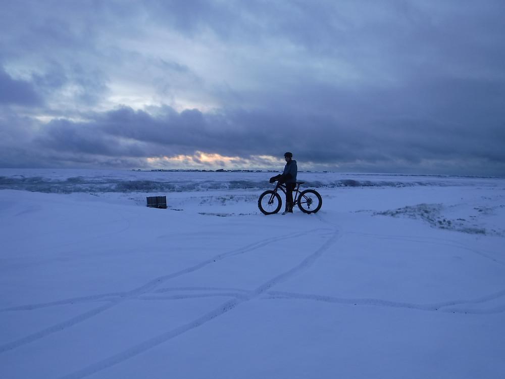Lars looking across the tundra towards town.