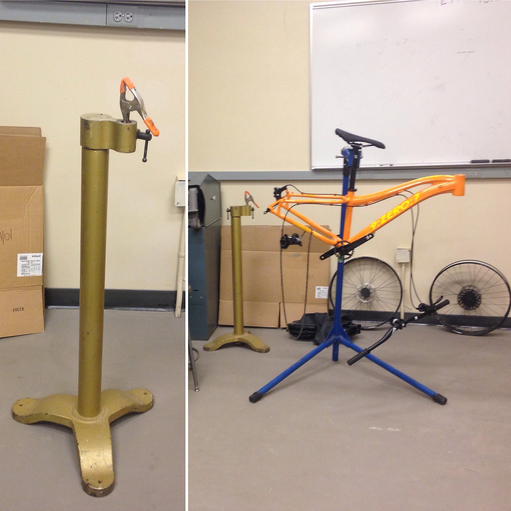 The old bike stand vs. the new bike stand. Off The Chain Bicycle Co Op of Anchorage donated the new bike stand.