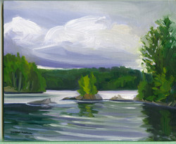 Board#14 Storm over Canoe lake-SOLD