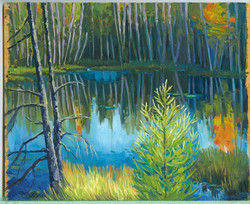 Board#71 Afternoon marsh light-SOLD