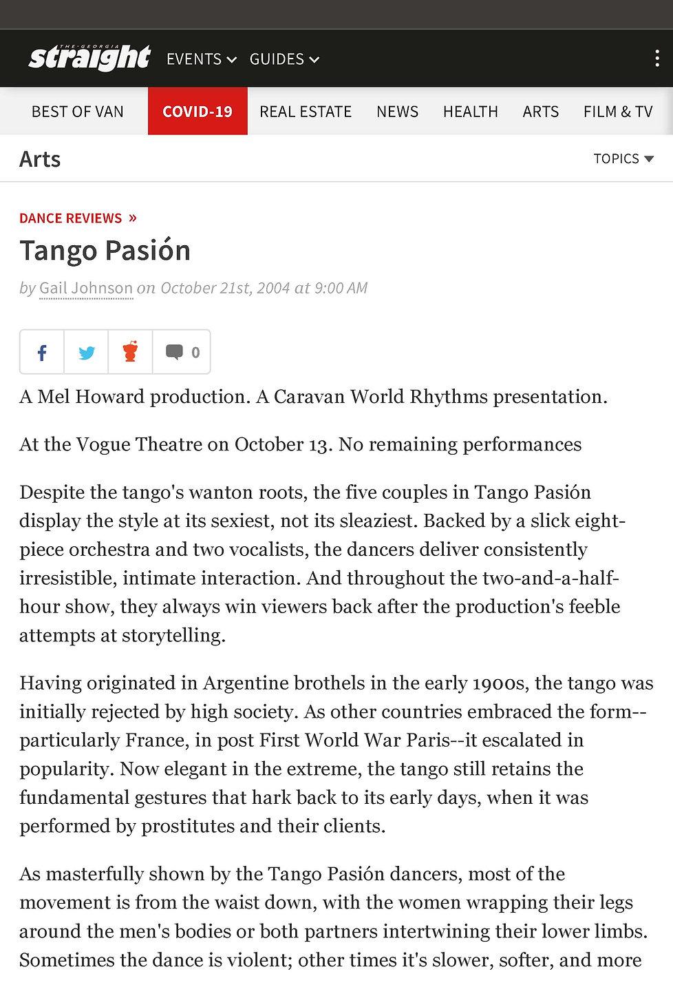 Tango Pasión | Georgia Straight Vancouv