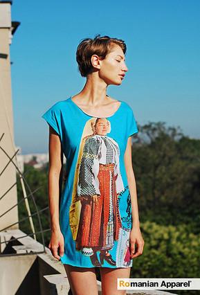 Blue Peasant Print Dress