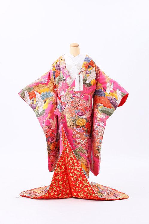 鶴と松と花々 E-1