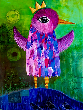 Just Hatched- Colorful Queen Bird Painting