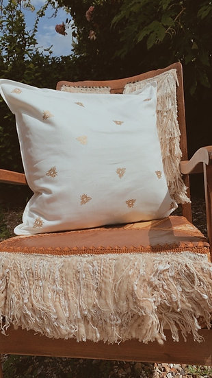 Gold Bee Cushion Cover   choice of fabric colour