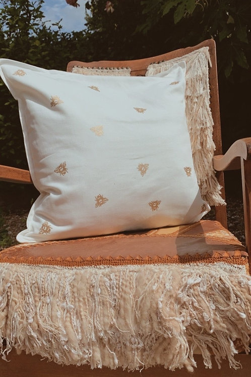 Gold Bee Cushion WITHOUT Pad | choice of fabric colour