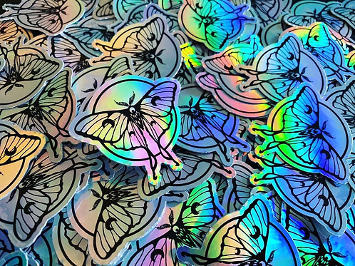 Holographic Luna Moth Vinyl Sticker