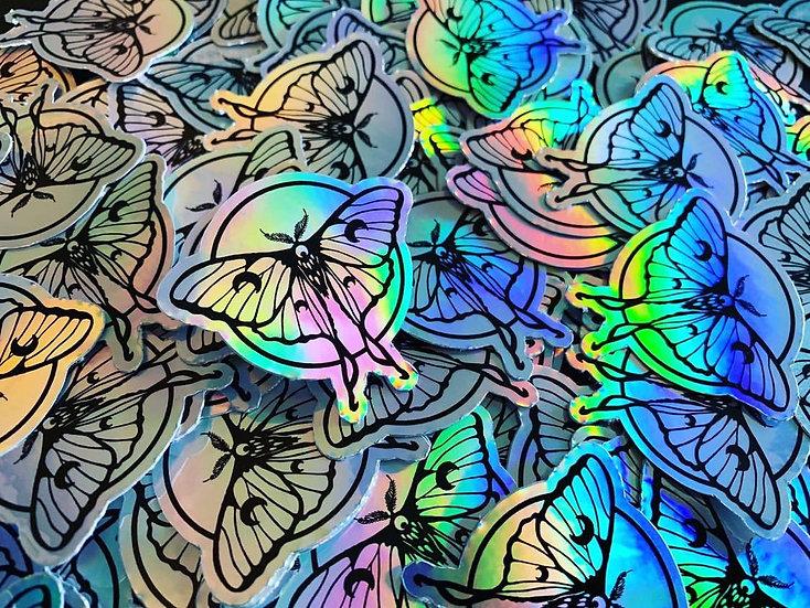 Holographic Luna Moth Vinyl Sticker